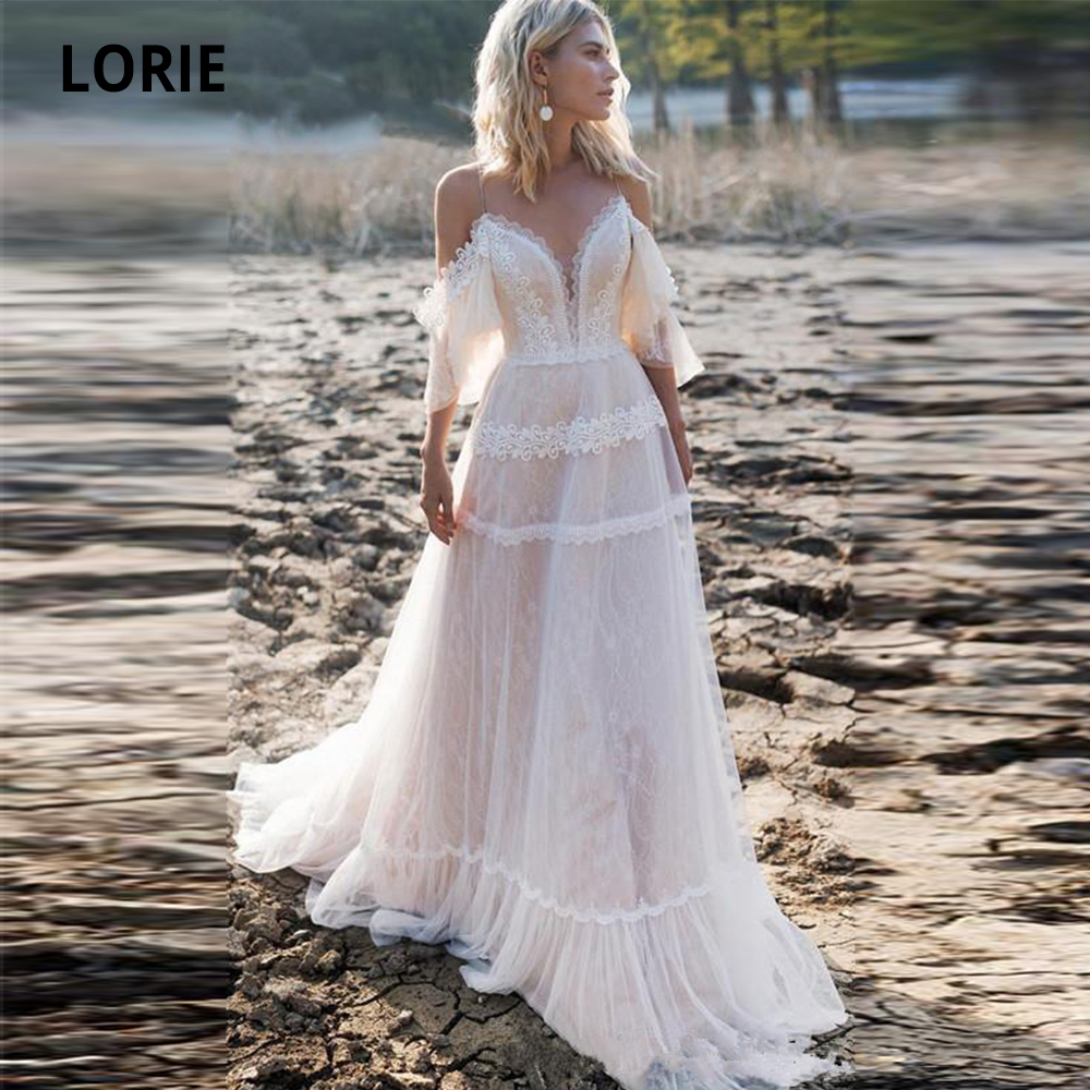 LORIE 2019 Bohemian Wedding Dresses Off Shoulder A Line Lace Appliqued Boho Wedding Gowns Lacing Plus Size Beach Bridal Gowns