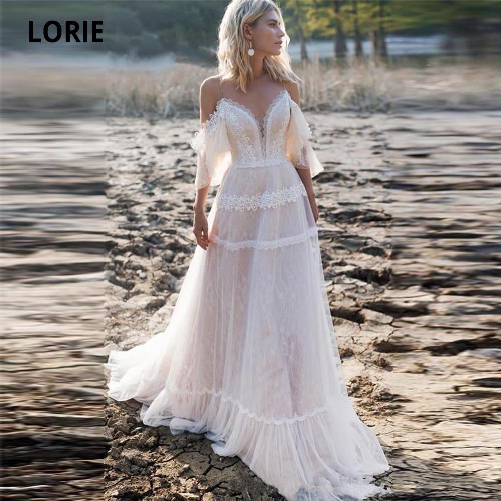 LORIE 2019 Bohemian Wedding Dresses Off Shoulder A Line Lace Appliqued Boho Wedding Gowns Lacing Plus Size Beach Bridal Gowns