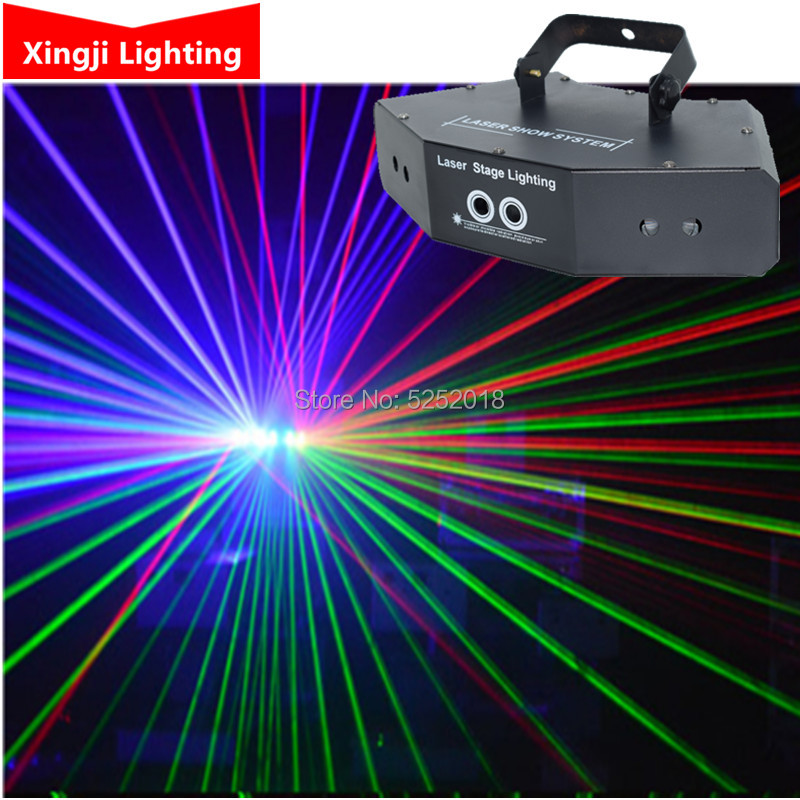 6 Lens DMX Red Green Blue RGB Beam Patterns Laser Scanner Light Home Party DJ Stage Lighting KTV Show Sector laser(China)