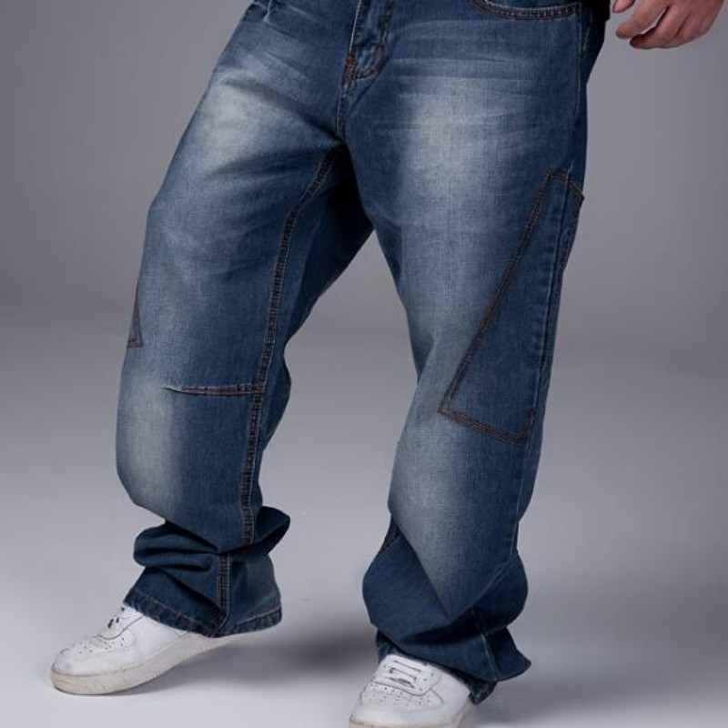 2020 New Fashion Mens Boys Hip Hop Washed Loose Casual Jeans Pants Denim Baggy Trousers Size 30-46 Free Shipping Blue