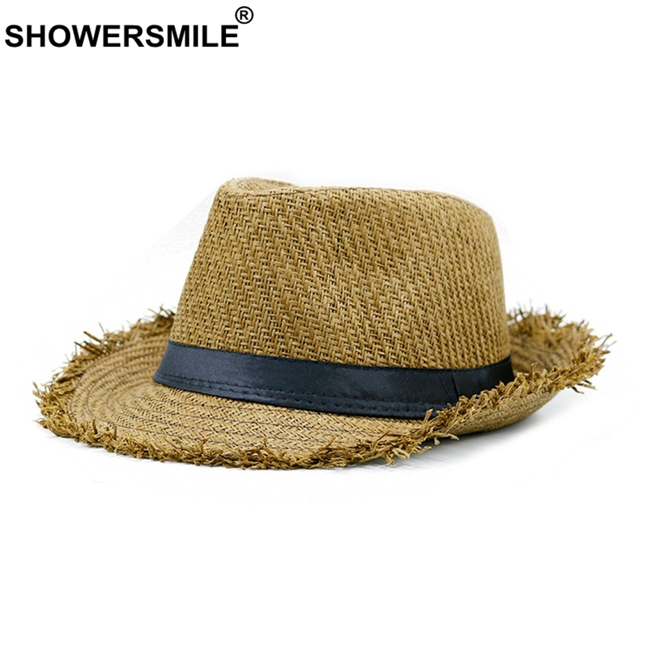 SHOWERSMILE Brand Khaki Straw Hat Men Panama Caps Summer Style Sun Hat Beach Holiday Classic Male Hats and Caps Mens Trilby Hats