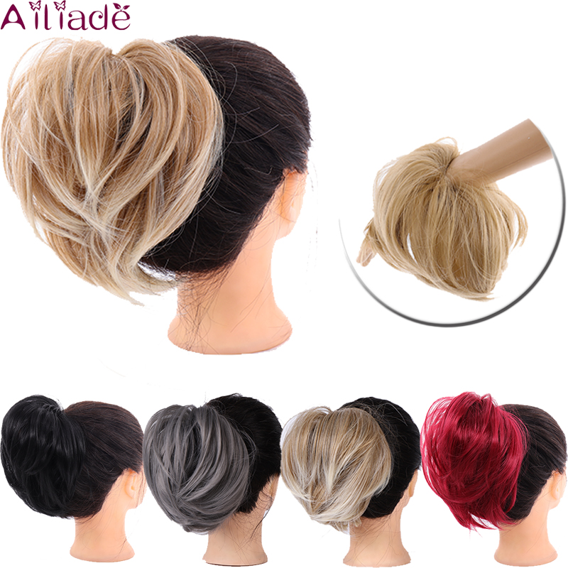 AILIADE Fiber Synthetic Tousled  Hair Bun Straight Donut Chignon Elastic Messy Scrunchies Wrap For Ponytail Extension For Women