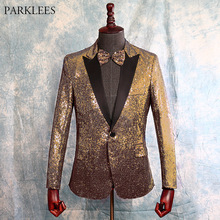 Suit Jacket Costume Blazers Tuxedo Glitter Stage Homme Lapel Gold Wedding Party Mens