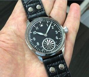 Image 3 - 44mm kein logo Schwarz zifferblatt turbine zweite hand Asiatischen 6498 Mechanische bewegung herren uhr GR16 20