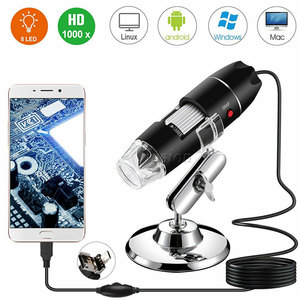 Image 1 - 40X 1000X 拡大鏡 8 LED 顕微鏡デジタルミニカメラハンドヘルド USB ビデオ内視鏡マイクロカム学校 Numerique Electronique