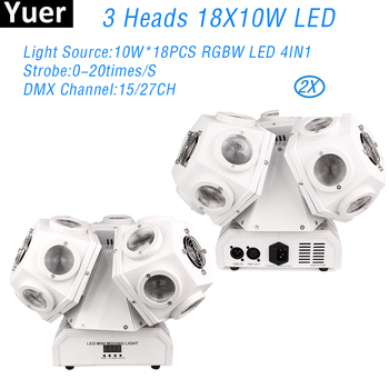 2Pcs/Lot 3 Head Moving Head Light 18X10W RGBW 4IN1 LED Sound Party Lights DJ Disco Moving Head Light For DJ Disco Club Bar Light 2pcs lot 4 in 1 led bar 7 10w moving head light rgbw 7 leds disco wash nightclub rainbow effect projector for wedding show