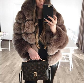 Winter Artificial fox fur Thick Warm Faux Fur Coat Women Plus Size Hooded Long Sleeve Faux Fur Jacket Luxury Winter Fur Coats casual thick faux fur hooded long sleeve bodycon coat for women page 4