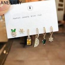 ANENJERY 925 argent Sterling 6 pièces boucles d'oreilles ensembles perle mosaïque Zircon avion étoile lune univers cerceau boucles d'oreilles ensembles pour les femmes