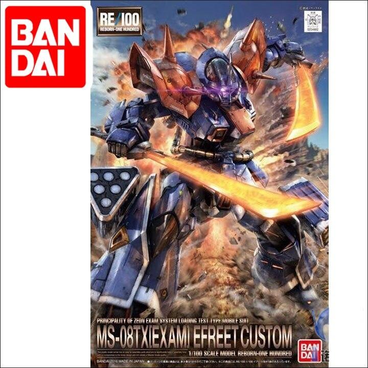 Japaness Bandai Original RE 1/100 Gundam EFREET CUSTOM Series MS-08TX [EXAM] Unchained Mobile Suit Kids Toys BANDAI