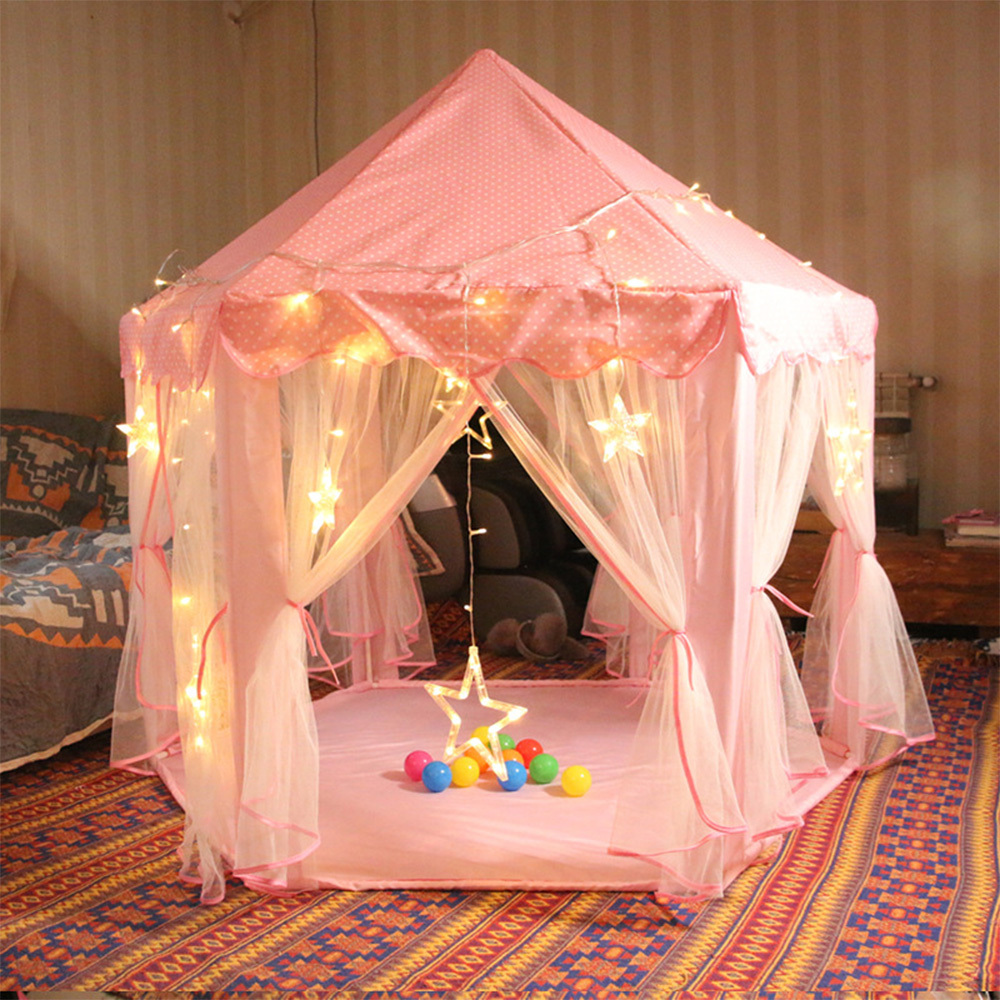 Girl Princess Castle Tent Children Folding Playhouse Lodge Kids Ball Pool Children Playing Sleeping Indoor Outdoor Portable Tent