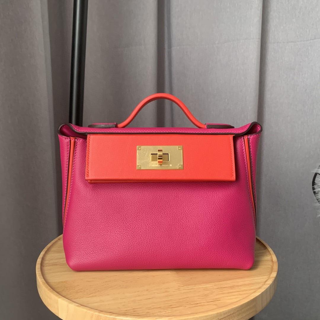 Toppe Fully Handmade LUXURY PURSE,21cm mini 2424 bag,Brand Handbag,Evercolor/Swifit Leather, Shoulder Bags  -...