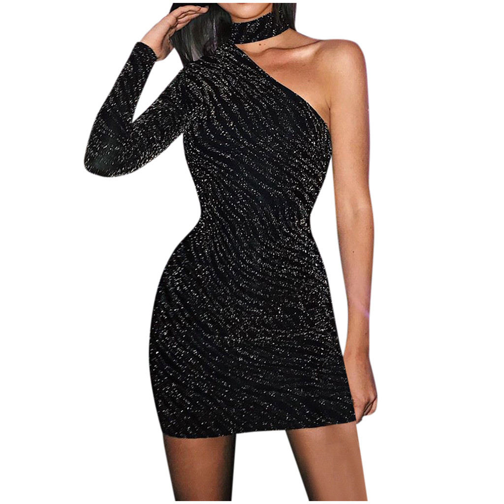 Black Sequin Shiny Dress Women One Shoulder Neck Party Solid Sexy Slim Evening Dress Autumn Night Out Ladies Short Dresses*