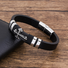 Gothic Bracelet Braided Leather Punk Cross Accessories Handmade DIY Mens Fashion Black Genuine