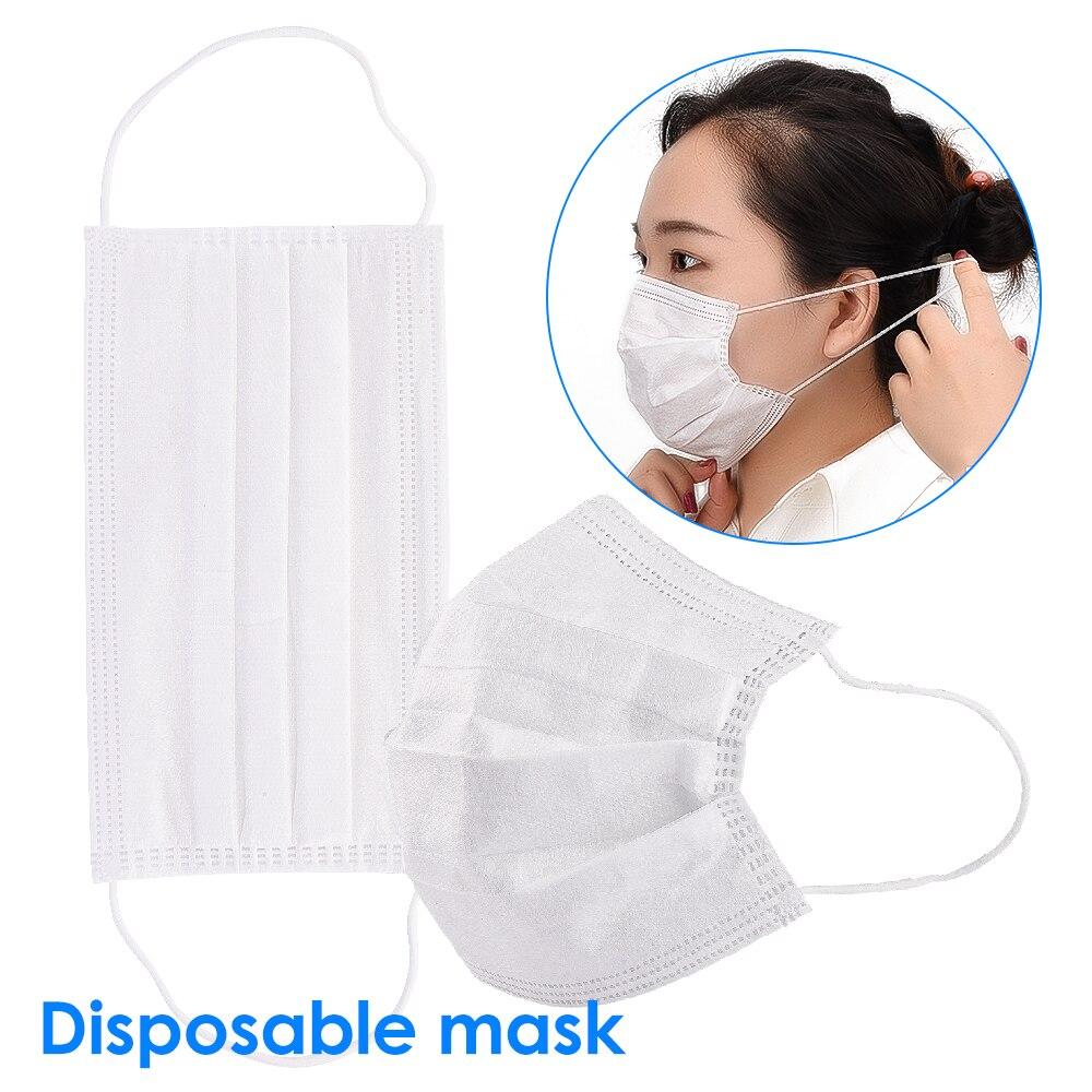 100Pcs Disposable 3 Layer Masks Gasket Safety White Mouth Face Mask Replacement Pad Square Cotton Mat Anti Dust Anti Haze Masks