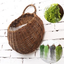 Creative Wall Hanging Natural Wicker Basket Flower Pot Planter Vine Vase Basket Family Garden Wall Decoration Storage Basket european swan wall decoration wall decorative wall decoration creative wall hanging vase flower basket living room background wa