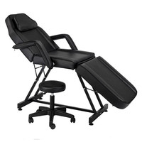 High Quality 72 Adjustable Beauty Salon SPA Massage Bed Tattoo Chair with Stool Black ship from US