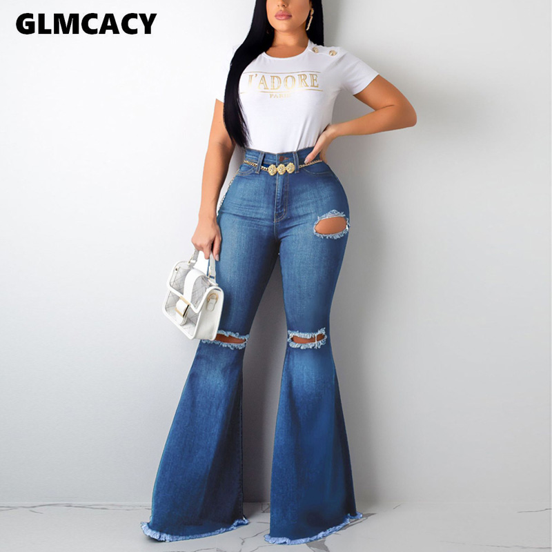 Women Casual Hole High Waist Zipper Skinny Flare Pants Autumn Streetwear Solid Slim Ripped Full Length Jeans
