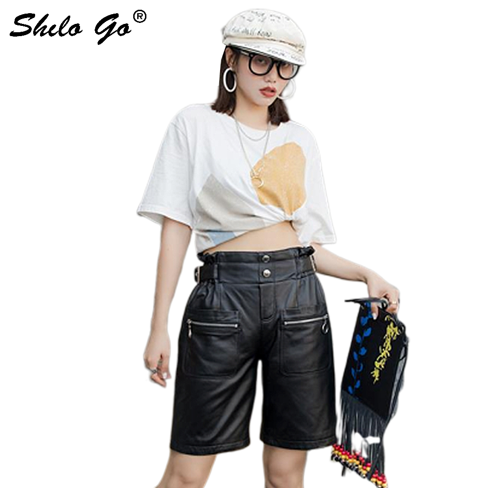 Genuine Leather Shorts Highstreet Minimalist Ruffles High Waist Button Straight Shorts Women Autumn Casual Knee Length Shorts