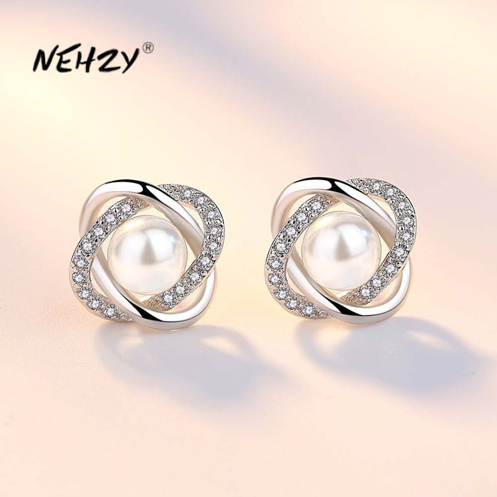 NEHZY 925 Sterling Silver New Woman Fashion Jewelry High Quality Crystal Zircon Pearl Flower Retro Hot Selling Earrings