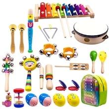 Crianças instrumentos musicais, 15 tipos 23pcs madeira percussão xilofone brinquedos para meninos e meninas pré escolar educação com armazenamento de volta