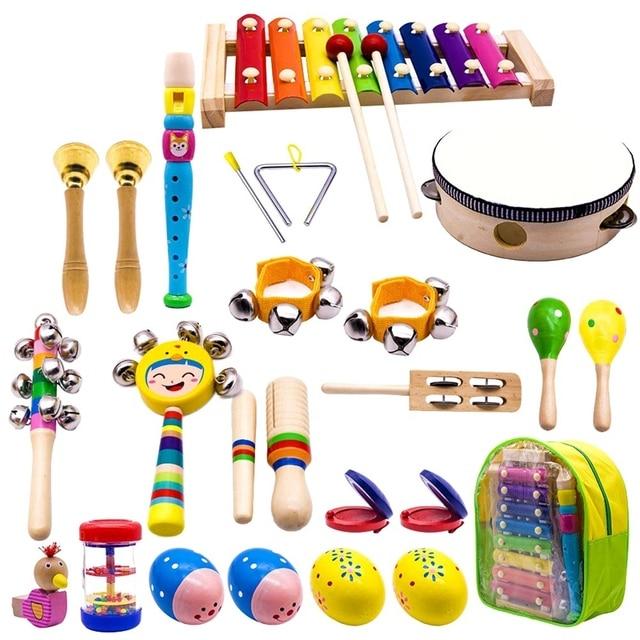 Instruments de musique pour enfants, 15 Types 23 pièces jouets de Xylophone à Percussion en bois pour garçons et filles