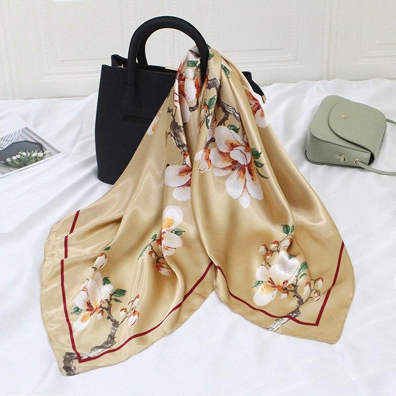 90*90cm Silk Satin Hijab Scarf For Women Fashion Floral Print Kerchief Square Shawls And Wraps Neck Scarfs Female Head Scarves