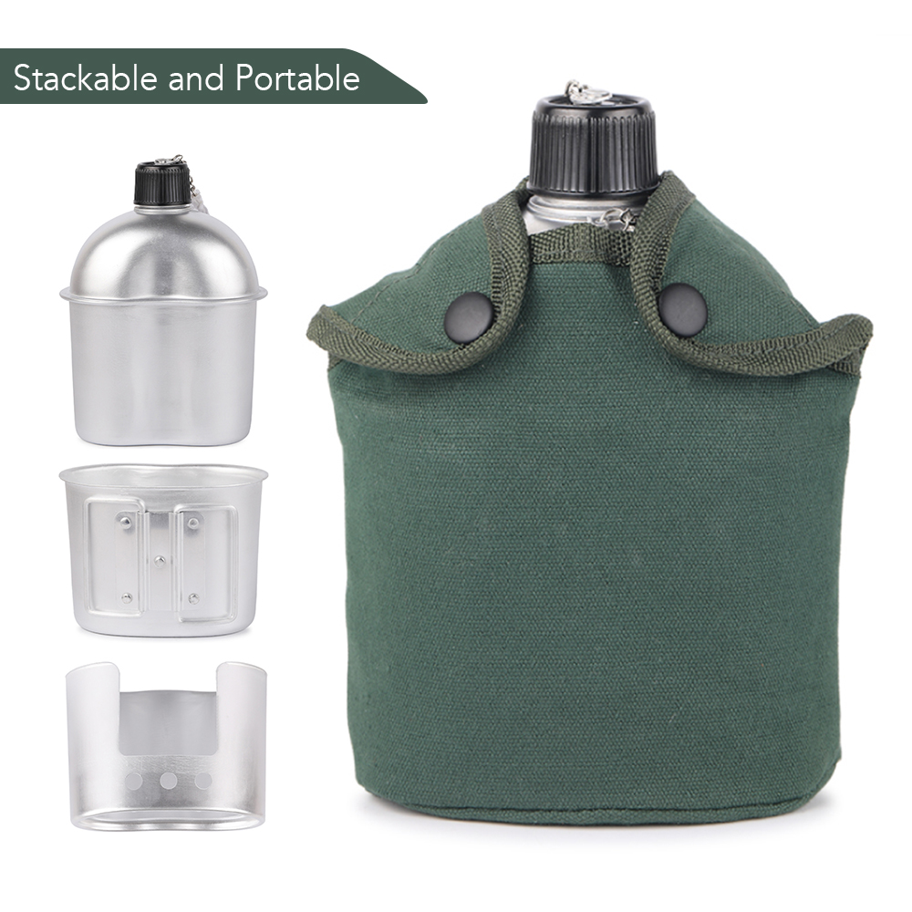 3pcs Cookware Set Ultra-light Aluminum Alloy Military Canteen Cup Wood Stove Cover Bag Camping Hiking Backpacking Utensils image