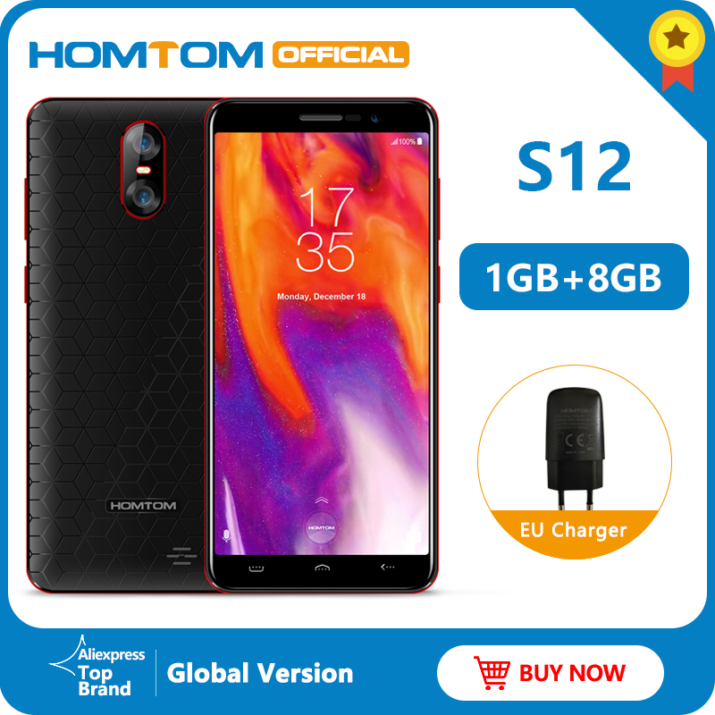 Global Version HOMTOM S12 3G Smartphone Android 6.0 5.0 Inch 18:9 Full Display 1GB+8GB MTK6580 Quad Core Unlocked Mobile Phone