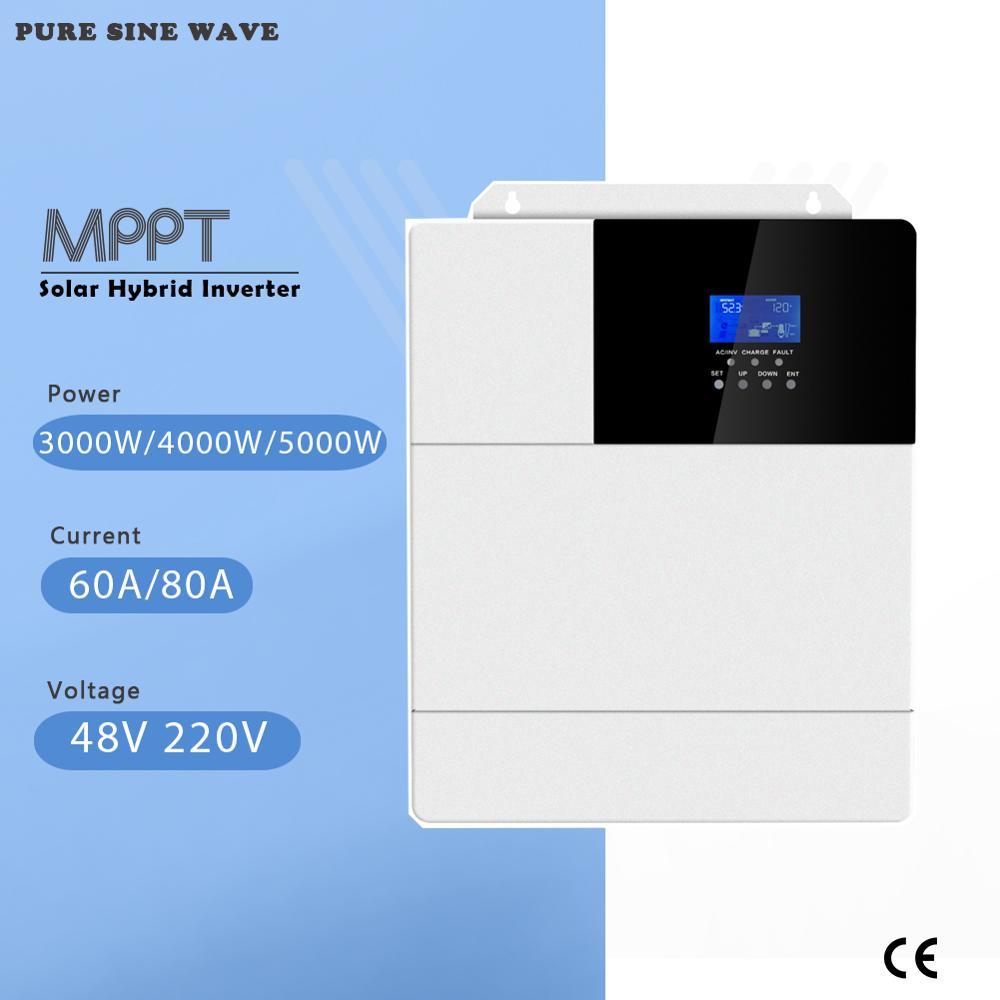 MPPT 60A 80A 3000W 4000W 5000W Alle In Einem Solar Hybrid Inverter Reine Sinus Welle Inverter 48V 220V 50Hz 60Hz Auto Priorität Einstellung