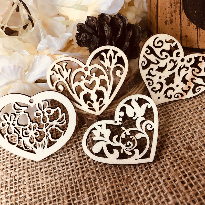 10pcs Retro Wooden Bookmarks Creaive Love Heart Shape Wood Gift Tags Mix Design DIY Decoration Hang Tags Stationery Supplies