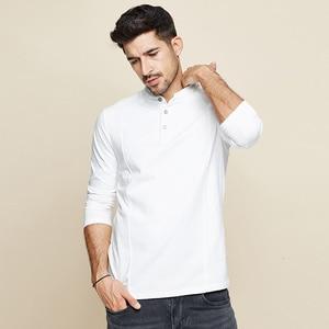 Image 3 - KUEGOU 2020 Spring Cotton Button Plain White T Shirt Men Tshirt Brand T shirt Long Sleeve Tee Shirt Male Clothes Plus Size 1306