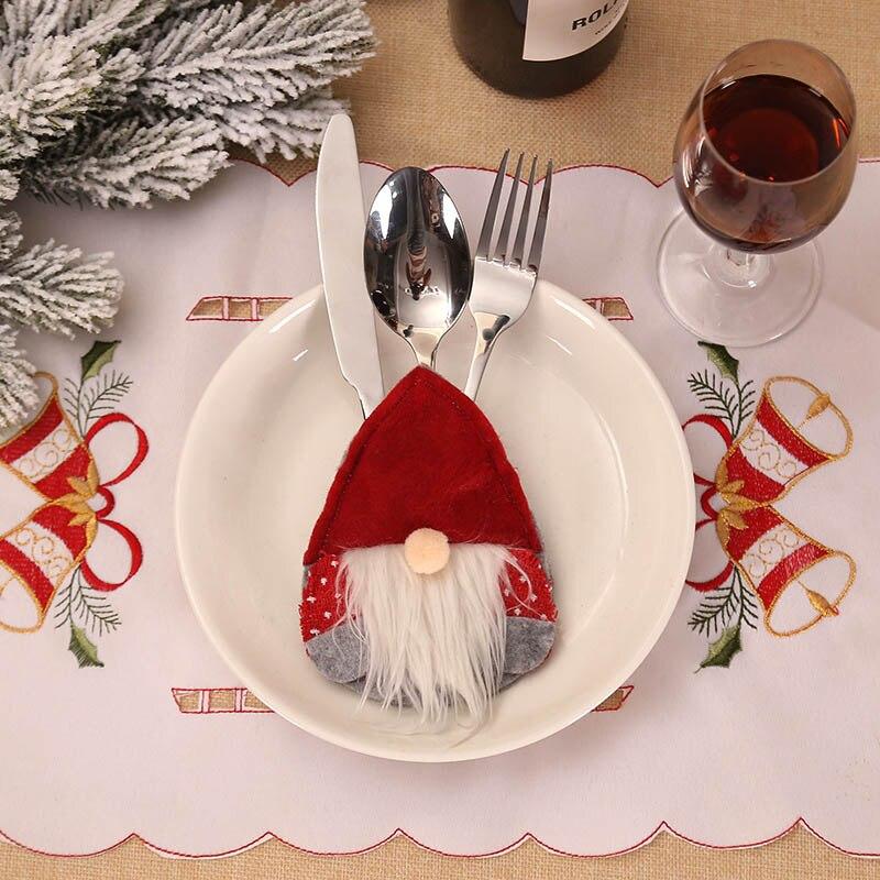 Шляпа Санты, олень, Рождество, Год, карманная вилка, нож, столовые приборы, держатель, сумка для дома, вечерние украшения стола, ужина, столовые приборы 62253 - Цвет: 2PD-63007-1