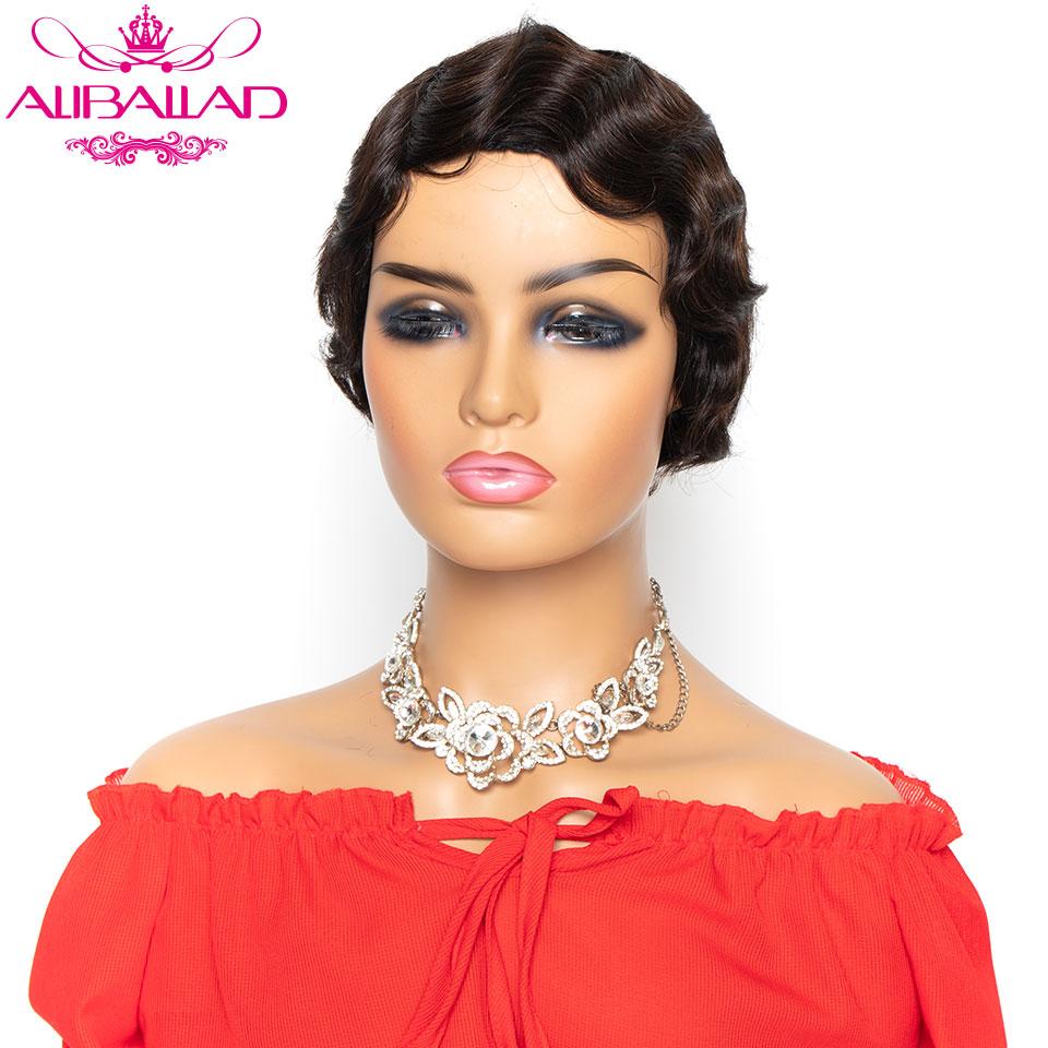 Short Finger Wave Burgundy Blonde Color Wigs Short Bob Wigs For Woman Short Pixie Cut Wig Brazilian Remy Short Human Hair Wigs