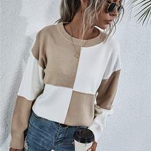 Свободный вязаный свитер для женщин джемперы с длинным рукавом