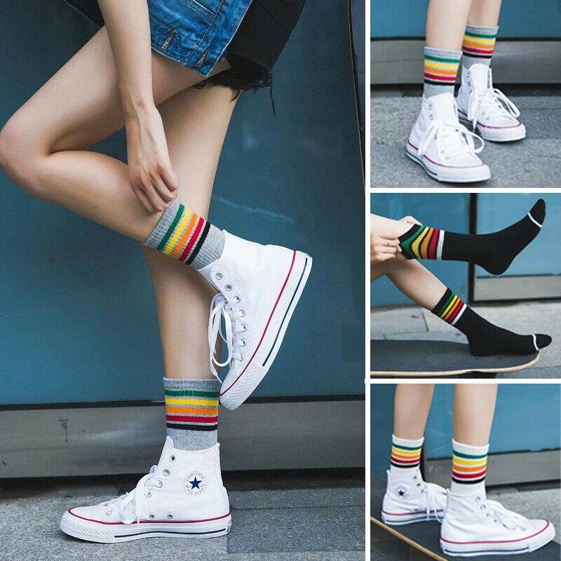 Gökkuşağı uzun çizgili çoraplar kadın lise kızlar komik pamuk çorap çorap rahat spor çorap Harajuku tasarımcı Sox
