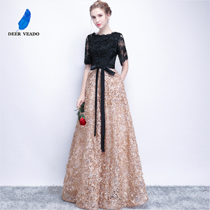 Image 4 - DEERVEAO YS409 Prom Dresses Long Vintage A Line O Neck Half Sleeves Evening Dress Women Occasion Party Dresses Gown