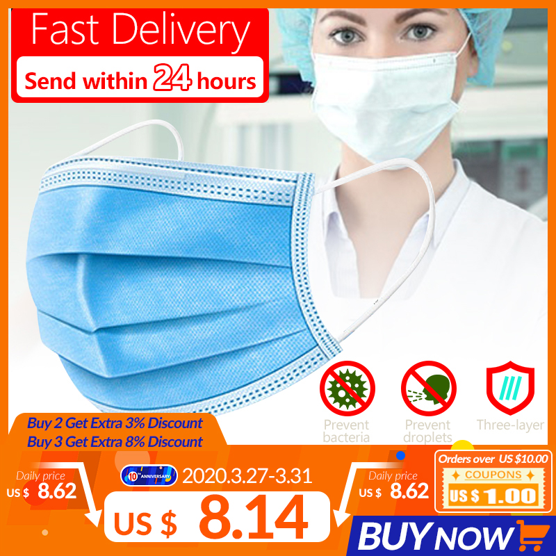 10/20/30/50pcs 3 Layer Disposable Earloop Face Mouth Masks Facial Anti-Dust Protective Cover Anti-Pollution Filtration Masks