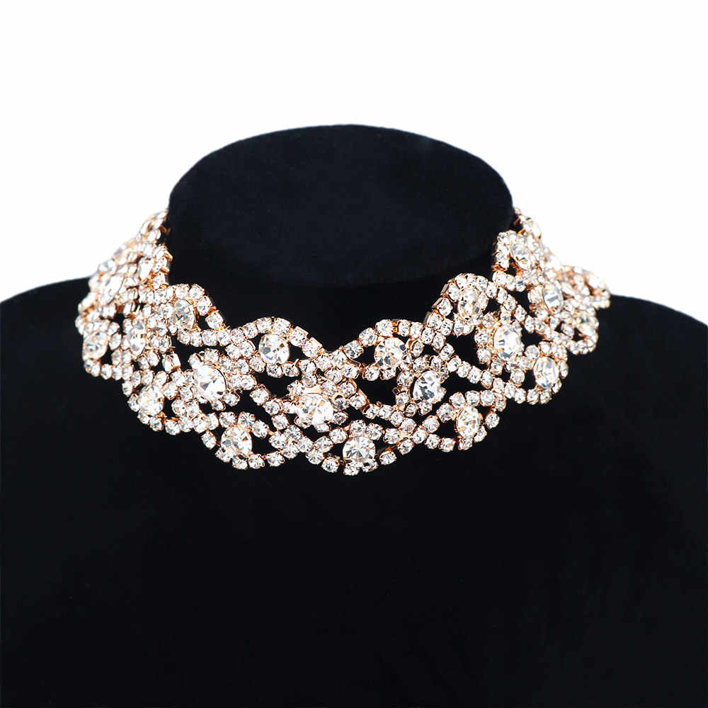 Sparkling Full Crystal Rhinestone Choker Necklace for Women Wedding Bridal Collar Choker Chain Necklace Party Jewelry