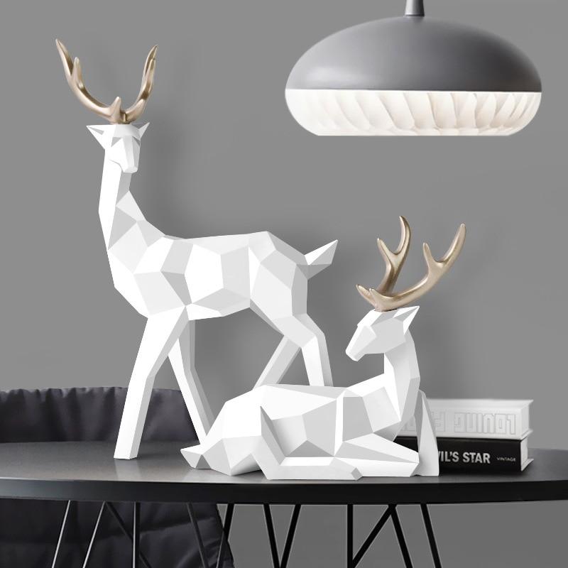 鹿像ノルディック装飾彫像幾何樹脂鹿フィギュア/置物/彫刻現代装飾抽象