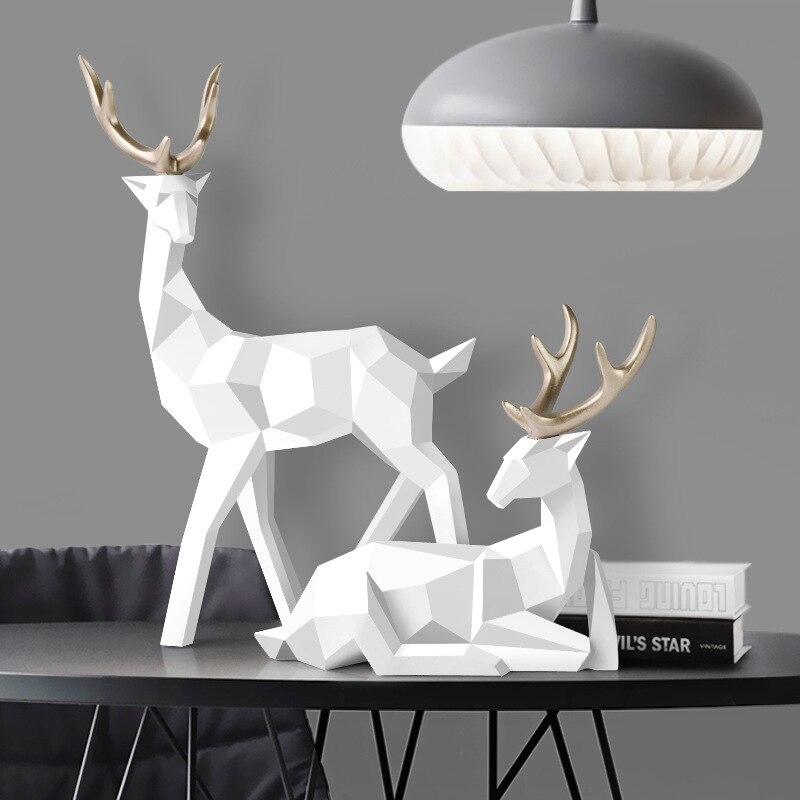 Statua jelenia dekoracja nordycka Home Decor posągi geometryczne jeleń z tworzywa sztucznego rysunek/figurki/rzeźba nowoczesna dekoracja abstrakcyjna