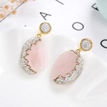 Pendientes colgantes de piedras bohemias para mujer, de lujo, gotas de diamantes de imitación brillantes, color blanco y negro, elegante, joyería para mujer