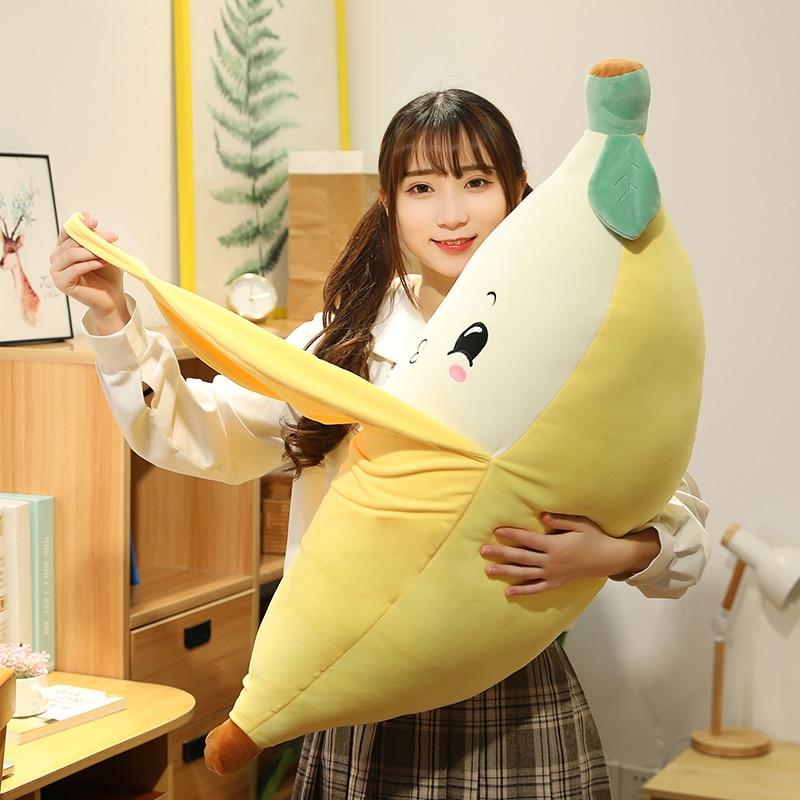 45 ~ 90cm émotionnel doux pelé banane jouet peluche spongieux en peluche fruits décor plante peluche pour enfants cadeau danniversaire