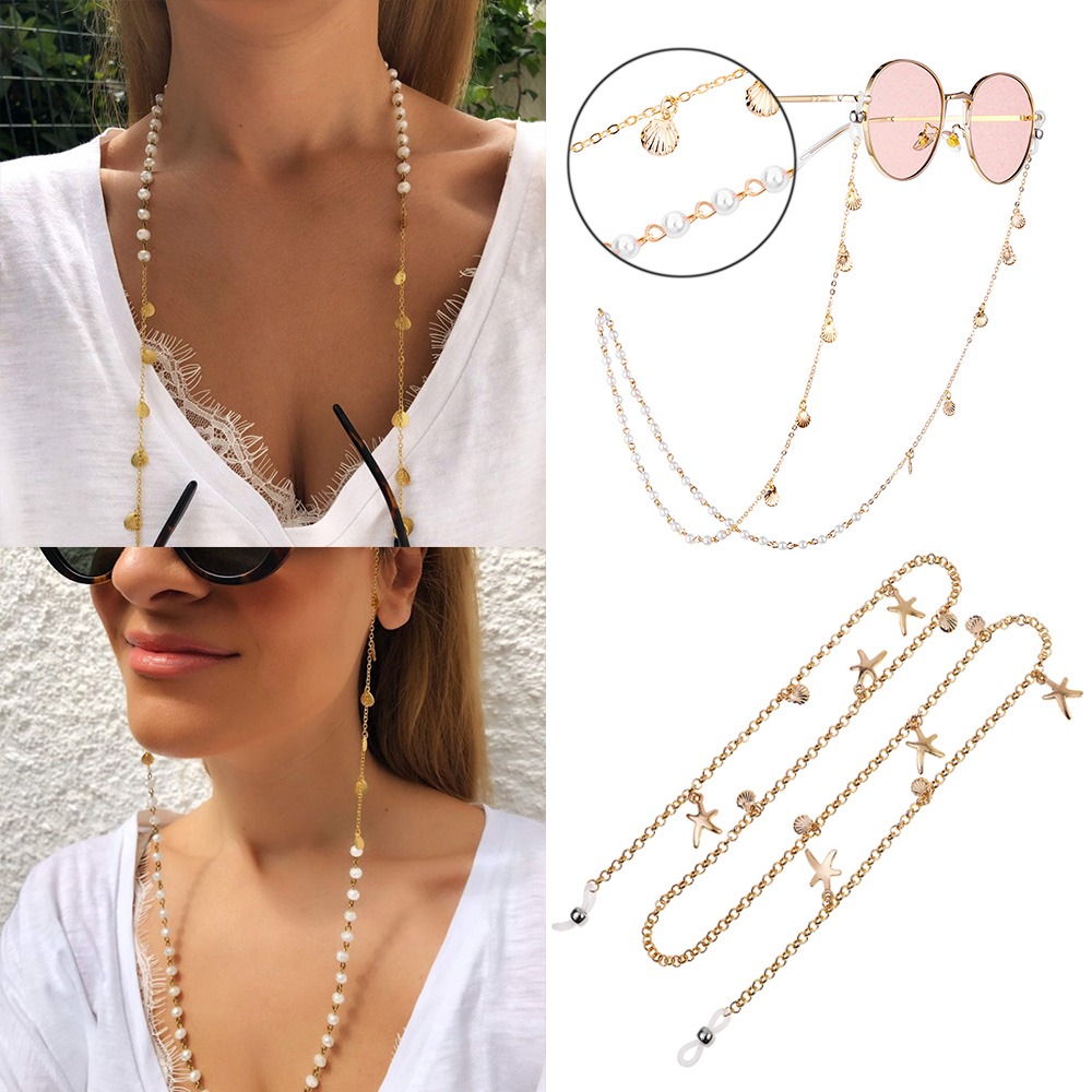 2020 Chic Fashion Reading Glasses Chain For Women Metal Sunglasses Cord Casual Pearl Beaded Eyeglass Chain For Glasses Women D30