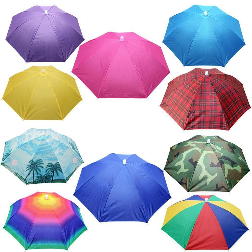 Hot Discount Sale New Useful Outdoor Foldable Sun Umbrella Hat Golf Fishing Camping Headwear Cap Head Hat Anti-Sunshine