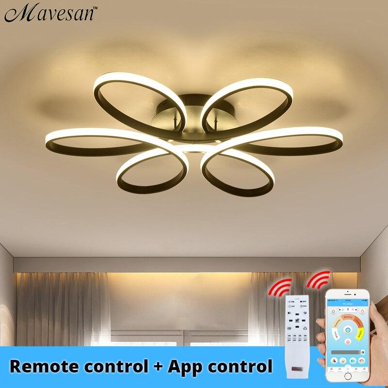 현대 led 샹들리에 조명 거실 침실 실내 홈 App 제어 광택 샹들리에 램프 AC90v-260v lampadario