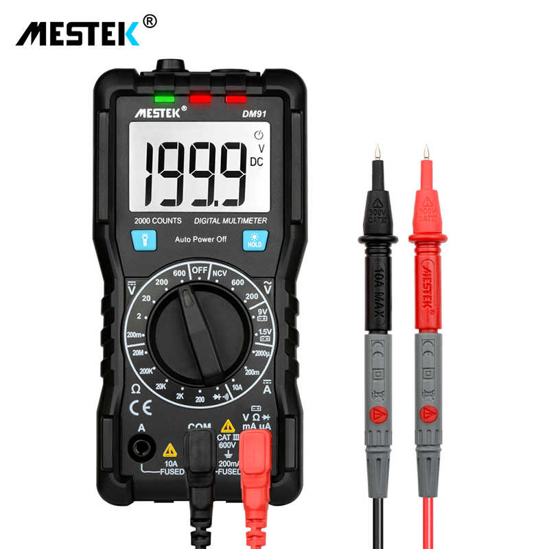 Mestek Digital Multimeter Otomatis Mulai Multimeter Mini Pocket Multi Meter Lampu Latar DC/VC Voltage Tester Multimeter Multitester
