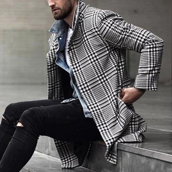 Koreańskie wełniane dla mężczyzn mieszanki płaszcze płaszcz męskie ciepłe ubrania zimowe wełniane znosić długi czarny biały Plaid mieszanki płaszcz męski Plus rozmiar tanie i dobre opinie Puimentiua POLIESTER CN (pochodzenie) Jesień I Zima BANQUET Na co dzień Pełne REGULAR STANDARD Men coat Sukno NONE Stałe