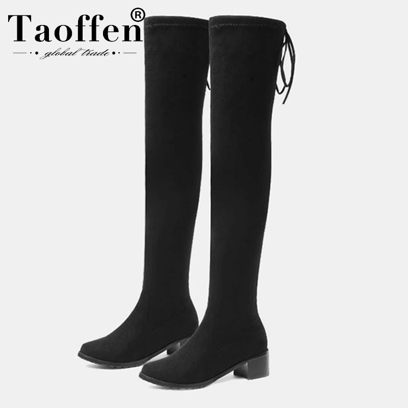 Taoffen 9 Colors Women Stretch Boots High Quality Warm Boots Winter Shoes Women Casual Flats Boot Long Footwear Size 34-43