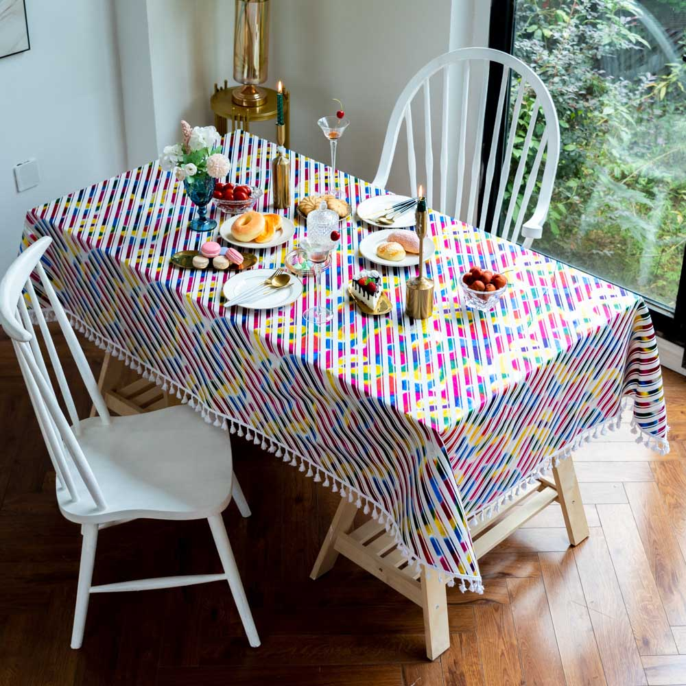 Colorful Striped Tablecloth Oilproof Children Baby Christmas Decoration Festive Wedding Home Garden Tea Coffee Table Cloth Cover