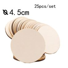 25Pcs Unfinished Round Wooden Disc Painting Blank Slices Circles Ornaments DIY 72XD
